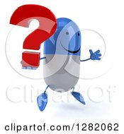Clipart Of A 3d Happy Blue And White Pill Character Facing Slightly Right Jumping And Holding A Question Mark Royalty Free Vector Illustration