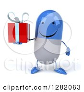 Clipart Of A 3d Happy Blue And White Pill Character Holding A Gift Royalty Free Vector Illustration