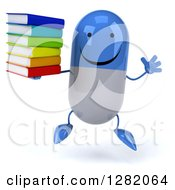 Clipart Of A 3d Happy Blue And White Pill Character Jumping And Holding Books Royalty Free Vector Illustration