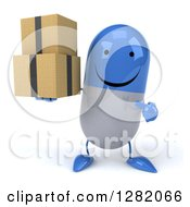 Clipart Of A 3d Happy Blue And White Pill Character Holding And Pointing To Boxes Royalty Free Vector Illustration
