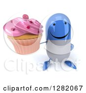 Clipart Of A 3d Happy Blue And White Pill Character Holding Up A Pink Frosted Cupcake Royalty Free Vector Illustration