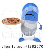 Clipart Of A 3d Unhappy Blue And White Pill Character Holding A Pizza Royalty Free Vector Illustration
