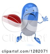 Clipart Of A 3d Unhappy Blue And White Pill Character Jumping And Holding A Beef Steak Royalty Free Vector Illustration