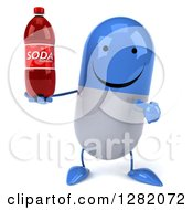 Clipart Of A 3d Happy Blue And White Pill Character Holding And Pointing To A Soda Bottle Royalty Free Vector Illustration