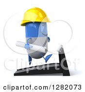 Clipart Of A 3d Happy Blue And White Contractor Pill Character Running With Plans On A Treadmill Royalty Free Vector Illustration