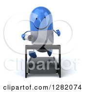 Clipart Of A 3d Happy Blue And White Pill Character Running With Plans On A Treadmill Royalty Free Vector Illustration