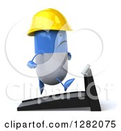 Clipart Of A 3d Happy Blue And White Contractor Pill Character Running On A Treadmill Royalty Free Vector Illustration