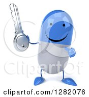 3d Happy Blue And White Pill Character Holding And Pointing To A Key