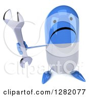 Clipart Of A 3d Unhappy Blue And White Pill Character Holding Up A Wrench Royalty Free Illustration