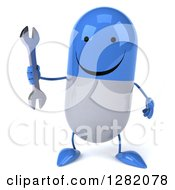Clipart Of A 3d Happy Blue And White Pill Character Holding A Wrench Royalty Free Illustration