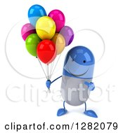 3d Happy Blue And White Pill Character Holding And Pointing To Party Balloons