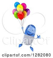 Clipart Of A 3d Happy Blue And White Pill Character Floating With Party Balloons Royalty Free Illustration