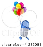 Clipart Of A 3d Happy Blue And White Pill Character Facing Right And Floating With Party Balloons Royalty Free Illustration