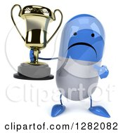 3d Unhappy Blue And White Pill Character Holding And Pointing To A Trophy