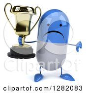 3d Unhappy Blue And White Pill Character Holding A Thumb Down And A Trophy