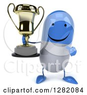 Clipart Of A 3d Happy Blue And White Pill Character Holding And Pointing To A Trophy Royalty Free Illustration
