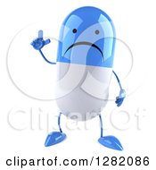 Clipart Of A 3d Unhappy Blue And White Pill Character Holding Up A Finger Royalty Free Illustration