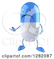 Clipart Of A 3d Unhappy Blue And White Pill Character Presenting Royalty Free Illustration