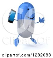 Clipart Of A 3d Happy Blue And White Pill Character Facing Right Jumping And Holding A Smart Cell Phone Royalty Free Illustration