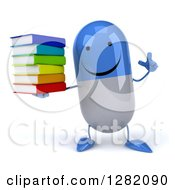 3d Happy Blue And White Pill Character Holding Up A Finger And A Stack Of Books