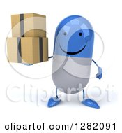 Clipart Of A 3d Happy Blue And White Pill Character Holding Boxes Royalty Free Illustration