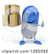 3d Happy Blue And White Pill Character Holding A Thumb Up And Boxes