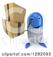 Clipart Of A 3d Happy Blue And White Pill Character Holding Up Boxes Royalty Free Illustration
