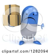 3d Unhappy Blue And White Pill Character Holding A Thumb Down And Boxes
