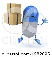 Clipart Of A 3d Unhappy Blue And White Pill Character Jumping And Holding Boxes Royalty Free Illustration
