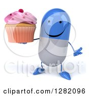 3d Happy Blue And White Pill Character Shrugging And Holding A Pink Frosted Cupcake