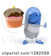 Clipart Of A 3d Happy Blue And White Pill Character Holding A Thumb Up And A Chocolate Frosted Cupcake Royalty Free Illustration