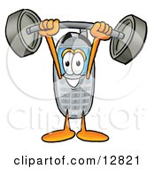 Wireless Cellular Telephone Mascot Cartoon Character Holding A Heavy Barbell Above His Head