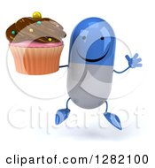 3d Happy Blue And White Pill Character Jumping And Holding A Chocolate Frosted Cupcake