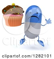 3d Unhappy Blue And White Pill Character Jumping And Holding A Chocolate Frosted Cupcake