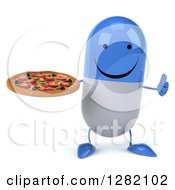 3d Happy Blue And White Pill Character Holding A Thumb Up And A Pizza
