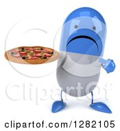 3d Unhappy Blue And White Pill Character Holding And Pointing To A Pizza