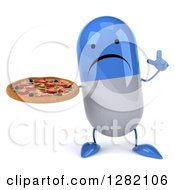 3d Unhappy Blue And White Pill Character Holding Up A Finger And A Pizza
