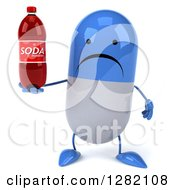 3d Unhappy Blue And White Pill Character Holding A Soda Bottle