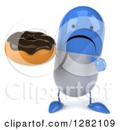 3d Unhappy Blue And White Pill Character Holding And Pointing To A Chocolate Frosted Donut