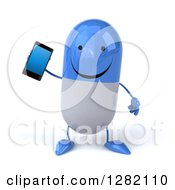 3d Happy Blue And White Pill Character Holding A Smart Cell Phone