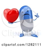 3d Unhappy Blue And White Pill Character Holding Up A Finger And A Heart