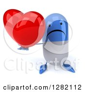 3d Unhappy Blue And White Pill Character Holding Up A Heart