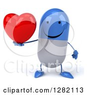 3d Happy Blue And White Pill Character Holding A Heart