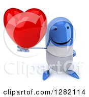 3d Happy Blue And White Pill Character Holding Up A Heart