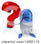 3d Unhappy Blue And White Pill Character Holding Up A Question Mark