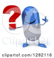 Clipart Of A 3d Happy Blue And White Pill Character Holding Up A Finger And A Question Mark Royalty Free Illustration