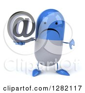 3d Unhappy Blue And White Pill Character Holding A Thumb Down And An Email Arobase At Symbol