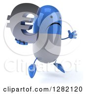 3d Unhappy Blue And White Pill Character Facing Right Jumping And Holding A Euro Currency Symbol