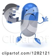 3d Unhappy Blue And White Pill Character Jumping And Holding A Euro Currency Symbol