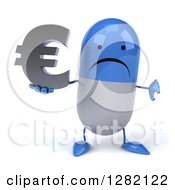 3d Unhappy Blue And White Pill Character Holding A Thumb Down And A Euro Currency Symbol